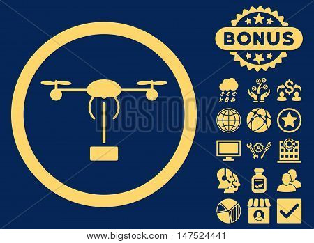 Copter Shipment icon with bonus symbols. Vector illustration style is flat iconic symbols, yellow color, blue background.