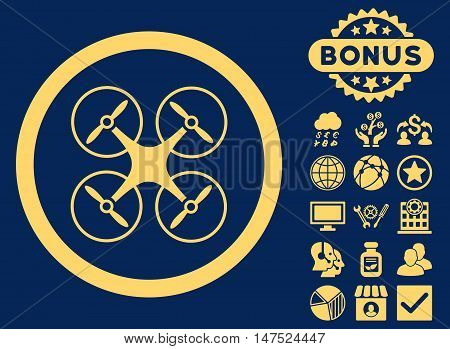 Copter icon with bonus images. Vector illustration style is flat iconic symbols, yellow color, blue background.