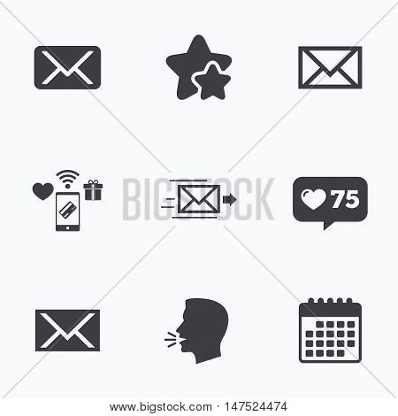 Mail envelope icons. Message delivery symbol. Post office letter signs. Flat talking head, calendar icons. Stars, like counter icons. Vector