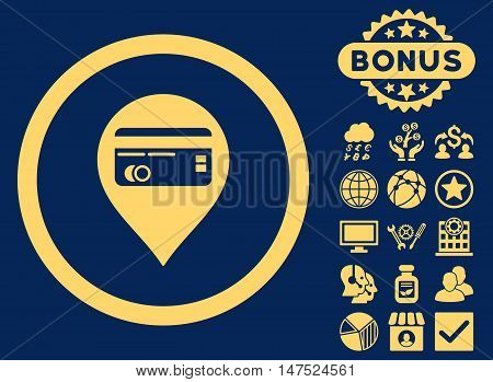 Credit Card Pointer icon with bonus elements. Vector illustration style is flat iconic symbols, yellow color, blue background.