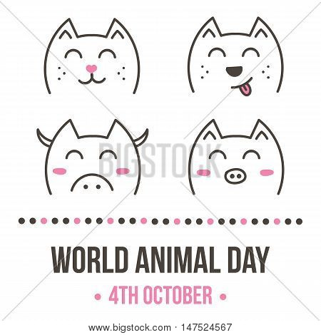 World animal day vector card with doodle cat, dog, pig, cow on white background.