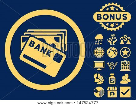 Credit Money icon with bonus images. Vector illustration style is flat iconic symbols, yellow color, blue background.