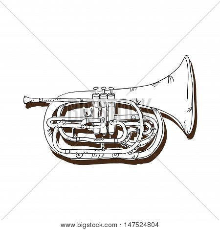 trumpet musical instrument. traditional music element. vector illustration