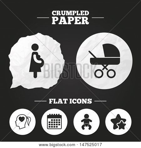 Crumpled paper speech bubble. Maternity icons. Baby infant, pregnancy and buggy signs. Baby carriage pram stroller symbols. Head with heart. Paper button. Vector