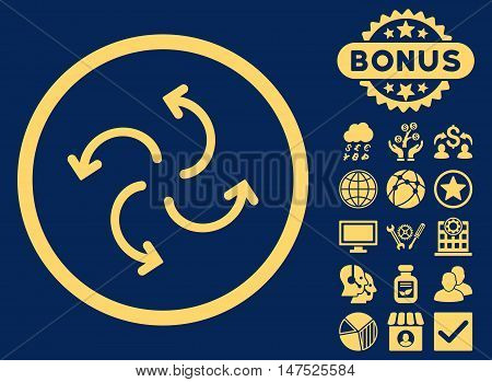 Cyclone Arrows icon with bonus design elements. Vector illustration style is flat iconic symbols, yellow color, blue background.
