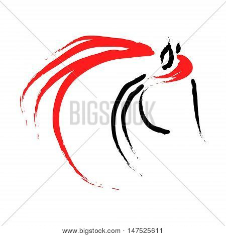 Abstract image of a horse on a white background the emblem of the horse of lines vector illustration