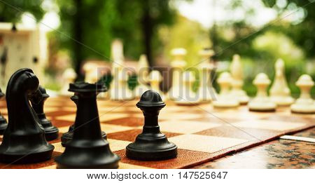 Chess and board for plaing chess in the park