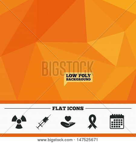 Triangular low poly orange background. Medicine icons. Syringe, life insurance, radiation and ribbon signs. Breast cancer awareness symbol. Hand holds heart. Calendar flat icon. Vector