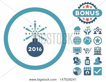 2016 Fireworks Detonator icon with bonus images. Vector illustration style is flat iconic bicolor symbols, cyan and blue colors, white background.