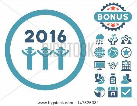 2016 Guys Dance icon with bonus images. Vector illustration style is flat iconic bicolor symbols, cyan and blue colors, white background.