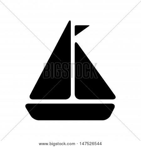 sailboat ship symbol. nautical boat with  flag. vector illustration