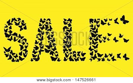 decorative inscription SALE With Black Butterflies On The Yellow Background