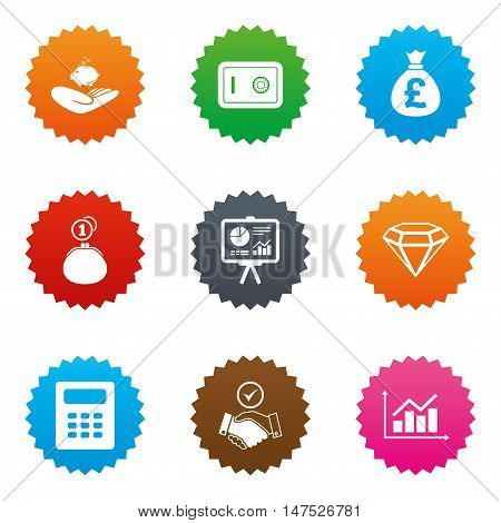 Money, cash and finance icons. Handshake, safe and calculator signs. Chart, safe and jewelry symbols. Stars label button with flat icons. Vector