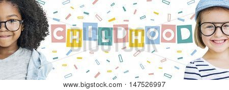 Childhood Children Confetti Cubes Graphic Concept