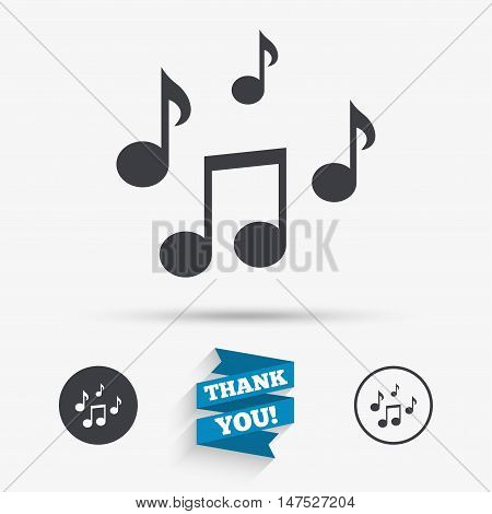 Music notes sign icon. Musical symbol. Flat icons. Buttons with icons. Thank you ribbon. Vector