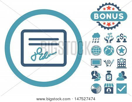 Agreement icon with bonus pictogram. Vector illustration style is flat iconic bicolor symbols, cyan and blue colors, white background.