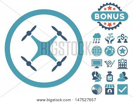 Airdrone icon with bonus pictogram. Vector illustration style is flat iconic bicolor symbols, cyan and blue colors, white background.