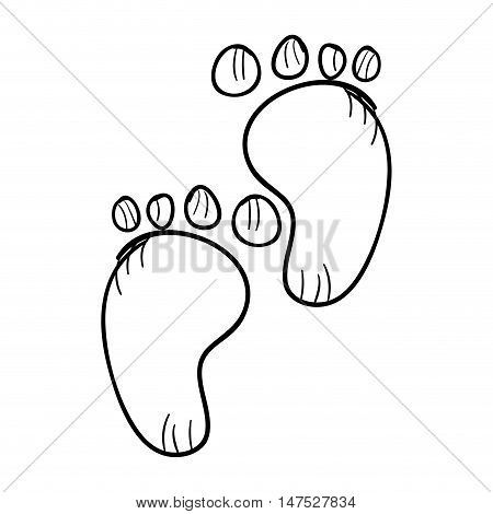 child pair of baby footprints. Toddler barefoot symbol. vector illustration