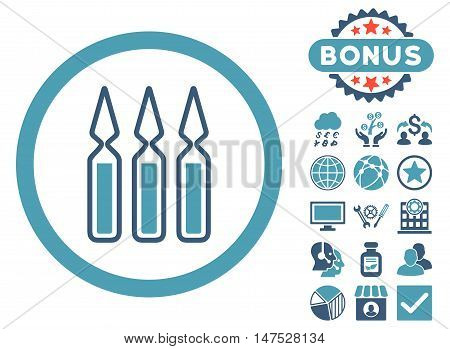 Ampoules icon with bonus symbols. Vector illustration style is flat iconic bicolor symbols, cyan and blue colors, white background.