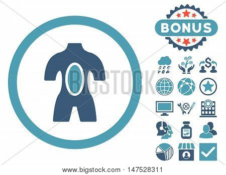 Anatomy icon with bonus elements. Vector illustration style is flat iconic bicolor symbols, cyan and blue colors, white background.