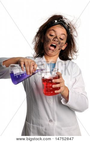 Portrait of stunned young scientist mixing chemicals isolated over white background
