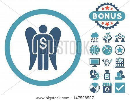 Angel Investor icon with bonus design elements. Vector illustration style is flat iconic bicolor symbols, cyan and blue colors, white background.