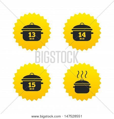Cooking pan icons. Boil 13, 14 and 15 minutes signs. Stew food symbol. Yellow stars labels with flat icons. Vector