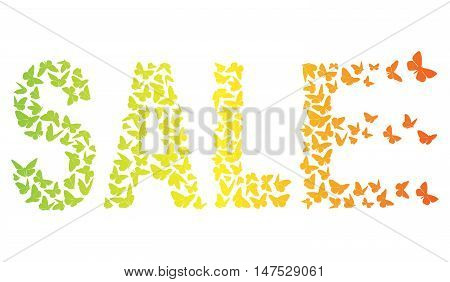 decorative inscription SALE With Green Yellow And Orange Butterflies