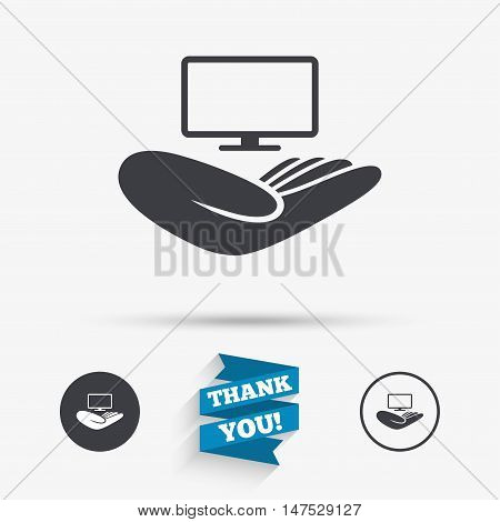TV insurance sign icon. Hand holds wide-screen TV symbol. Flat icons. Buttons with icons. Thank you ribbon. Vector