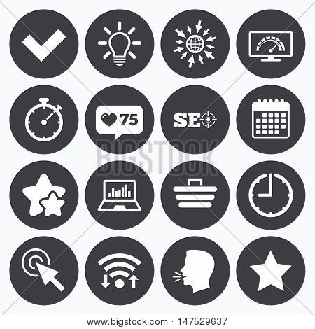 Calendar, wifi and clock symbols. Like counter, stars symbols. Internet, seo icons. Bandwidth speed, online shopping and tick signs. Favorite star, notebook chart symbols. Talking head, go to web symbols. Vector
