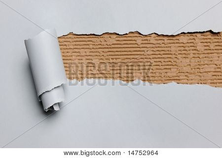 Gray ripped paper revealing cardboard