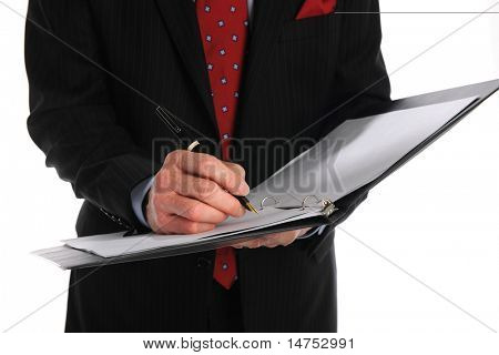 Businessman writing on close up view isolated over white background