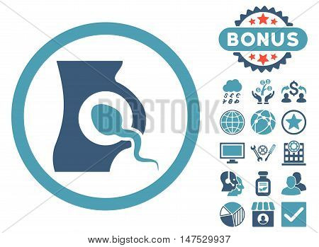 Artificial Insemination icon with bonus elements. Vector illustration style is flat iconic bicolor symbols, cyan and blue colors, white background.