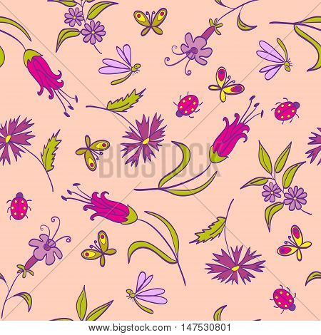 Seamless Pattern With Flowers On The Pink Background