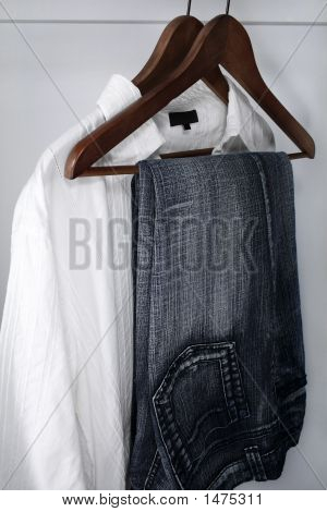 Man'S Clothing: Blue Jeans And White Shirt