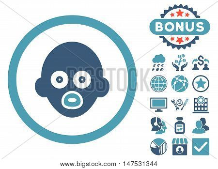 Baby Head icon with bonus design elements. Vector illustration style is flat iconic bicolor symbols, cyan and blue colors, white background.
