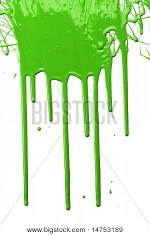 Grüne Farbe tropft isolated over white background