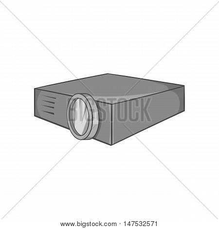 Projector icon in black monochrome style isolated on white background. Device symbol vector illustration