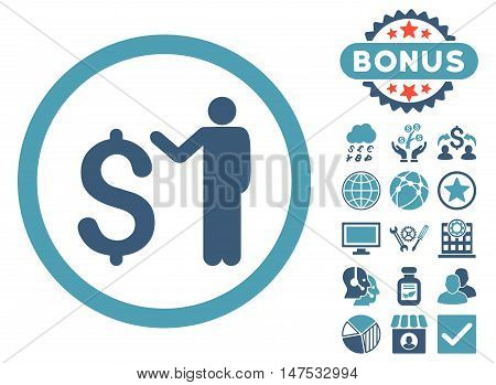 Banker icon with bonus elements. Vector illustration style is flat iconic bicolor symbols, cyan and blue colors, white background.
