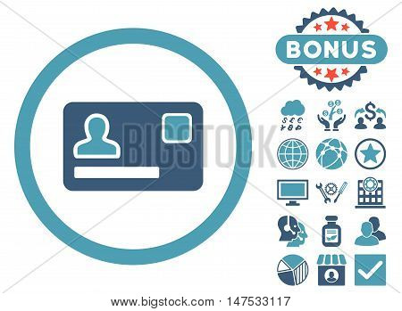 Banking Card icon with bonus design elements. Vector illustration style is flat iconic bicolor symbols, cyan and blue colors, white background.