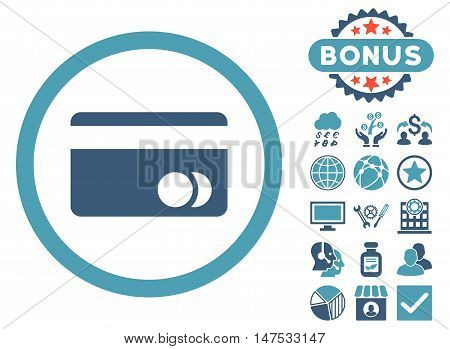 Banking Card icon with bonus symbols. Vector illustration style is flat iconic bicolor symbols, cyan and blue colors, white background.