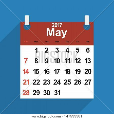 Leaf calendar 2017 with the month of May days of the week and dates