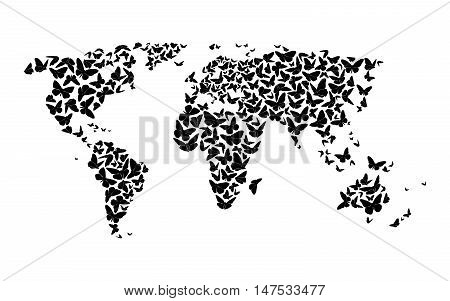 World Map With Silhouettes Of Black Butterflies