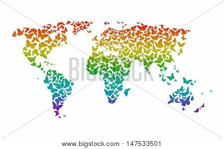 World Map With Silhouettes Of Rainbow Butterflies