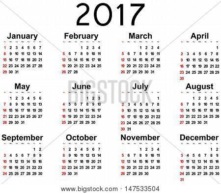 Great new wall calendar 2017. Vector illustration