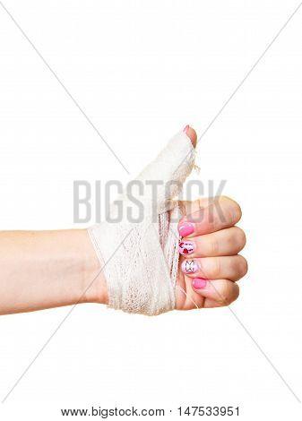 wounded female hand tied elastic bandage human injury finger on white background