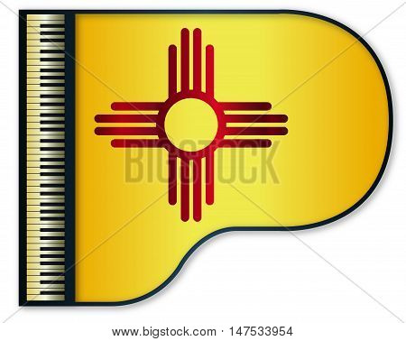The New Mexico state flag set into a traditional black grand piano