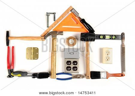 House made out of tools over white background