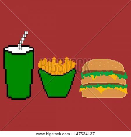 Fast food set. Pixel food. Pixel art. Vector illustration