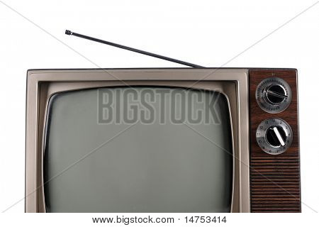 Partial view of vintage television with antenna isolated over white background